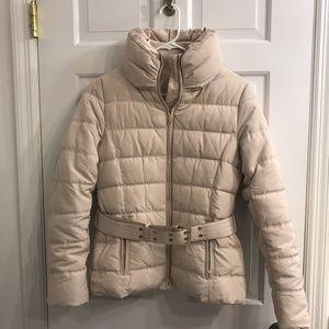 NEW tan puffer coat with belt